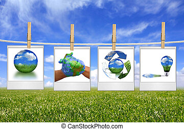 Green Energy Solution Images Hanging on a Rope - Global...