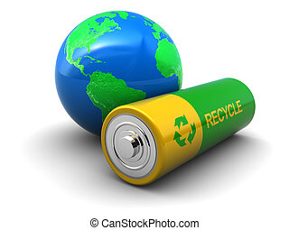 green energy - abstract 3d illustration of green battery...