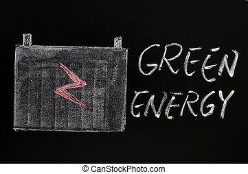 Green energy symbol drawn with chalk on a blackboard