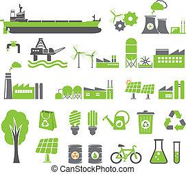 Green energy symbols