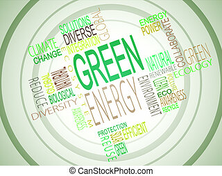 Green energy terms together on green background