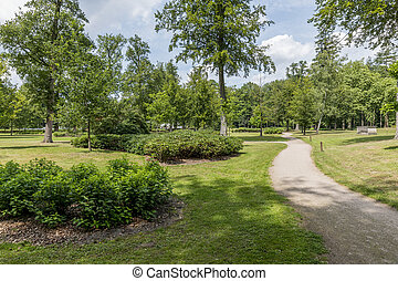 green english garden with trees and grass