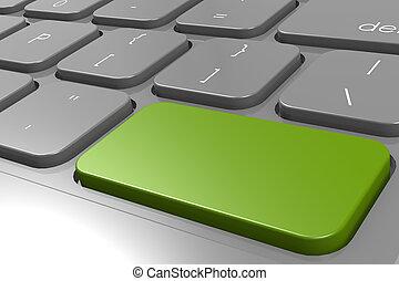 Green enter button in black keyboard
