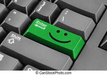 Green Enter button with smile symbol