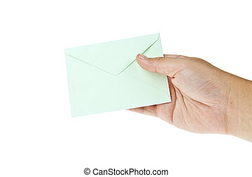 Green envelop with hand isolated on white background