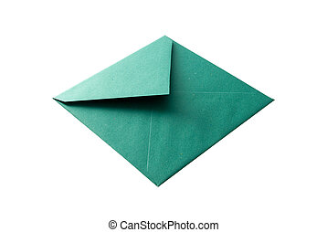Green envelope isolated on white