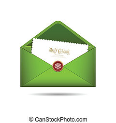 Green Envelope letter Merry Christmas white card, Vector illustration