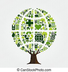 Green environment friendly tree concept