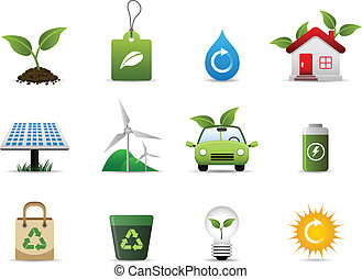 A group of symbolic icon that represent the support for a greener environment.
