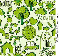 Green environment icons pattern