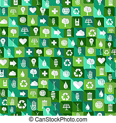 Green environment icons seamless pattern background