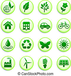 Green Environmental Buttons Original Vector Illustration...