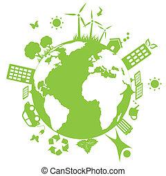 Green environmental earth - Green environment symbols on...