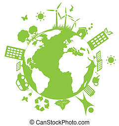 Green environmental earth - Green environment symbols on...