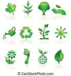 Green environmental icons - Illustration set of glossy green...