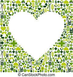 Green environmnet love icon set background