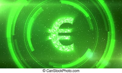 Green euro currency symbol on space background with circles. Seamless loop.