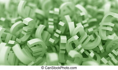 Green euro symbols. 3D animation - Pile of green euro signs...