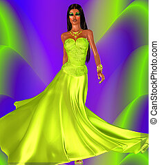 Green evening gown colorful