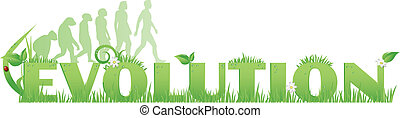 Green Evolution - Evolution text decorated with, flowers, ...