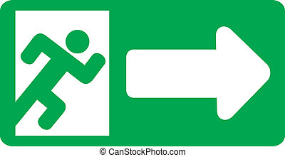 green exit emergency sign (emergency exit door - sign with ...
