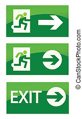 Green exit emergency sign