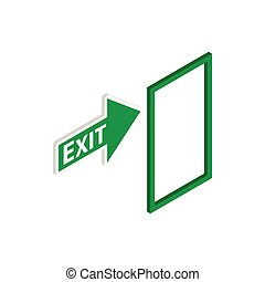 Green exit sign icon, isometric 3d style