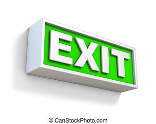 Green EXIT sign on white wall 3D
