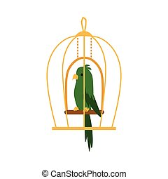 Green exotic parrot bird in cage icon flat cartoon vector illustration isolated.