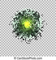 Green Explosion Cloud of Grey Pieces