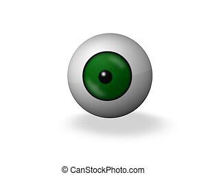green 3d eye ball on white background