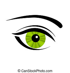 Green eye - Green mysterious eye. Vector illustration