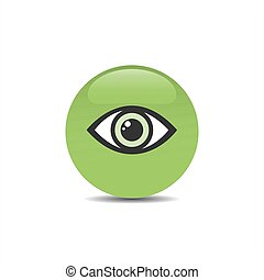 Green eye icon on a bubble and white background