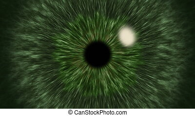 Green Eye Iris Pupil Dilates and Contracts - Green eye...