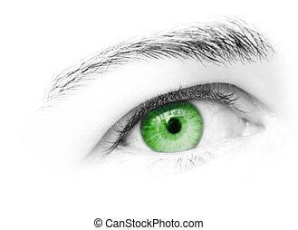 Green eye of female looking straight ahead
