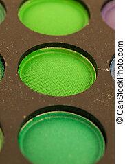 green eye shadows macro