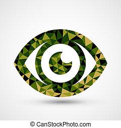 Green eye triangle pattern design