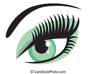 green eye - vector green eye with long lashes