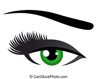 green eye with long eyelashes
