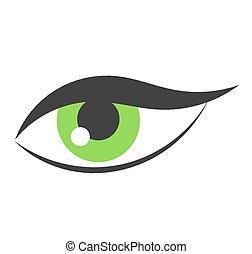 Green eye - Woman green eye icon. Vector illustration