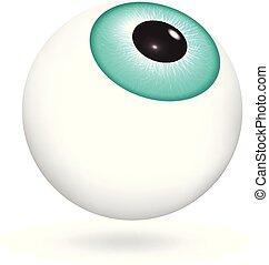 Green eyeball icon, realistic style