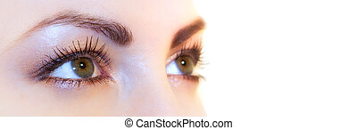 Green Eyes - Beautiful green woman eyes. Sharp image