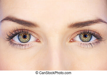 Green Eyes - Eyes of 20-25 years old beautiful woman, part...