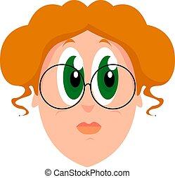 Green eyes, illustration, vector on white background.