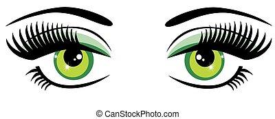 Green Eyes - vector green eyes