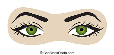green eyes with eyelashes and eyebrows