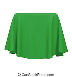 Green fabric covering a cube or rectangular shape, isolated on white background. Can be used as a stand for product display, draped table. Vector illustraion