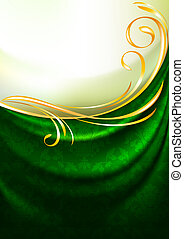 Green fabric curtain with ornament