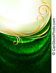 Green fabric drapes with ornament,