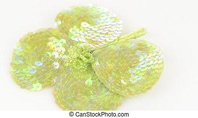 Green fabric flower